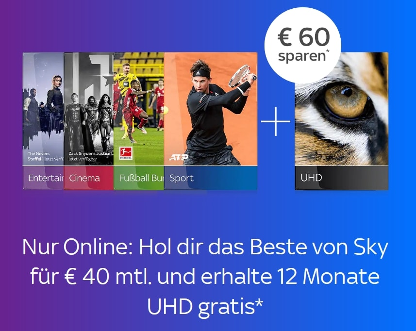 ALL INCLUSIVE! 🔥 Sky komplett Angebot: um nur 40€/Monat - JETZT: UHD gratis!