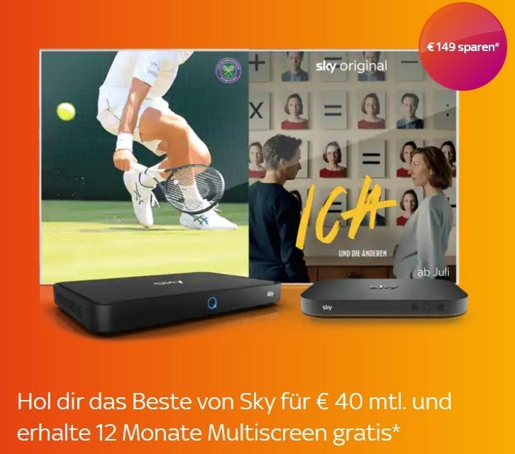 ALL INCLUSIVE! 🔥 Sky komplett Angebot: um nur 40€ mtl. - JETZT: Multiscreen & Sky Q Mini gratis!