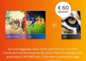 Sky Sport um nur 25€ mtl. - JETZT: UHD gratis für 1 Jahr!